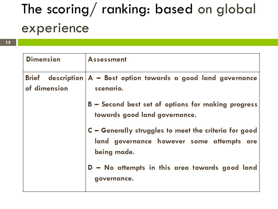 The scoring/ ranking: based on global experience Dimension Assessment Brief description of dimension A – Best option towards a good land governance scenario.