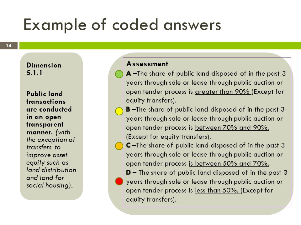 Example of coded answers Dimension 5.1.1 Public land transactions are conducted in an open transparent manner.