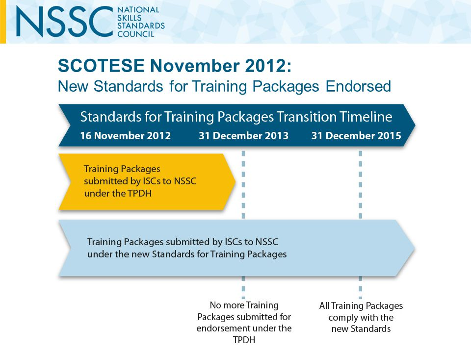 SCOTESE November 2012: New Standards for Training Packages Endorsed