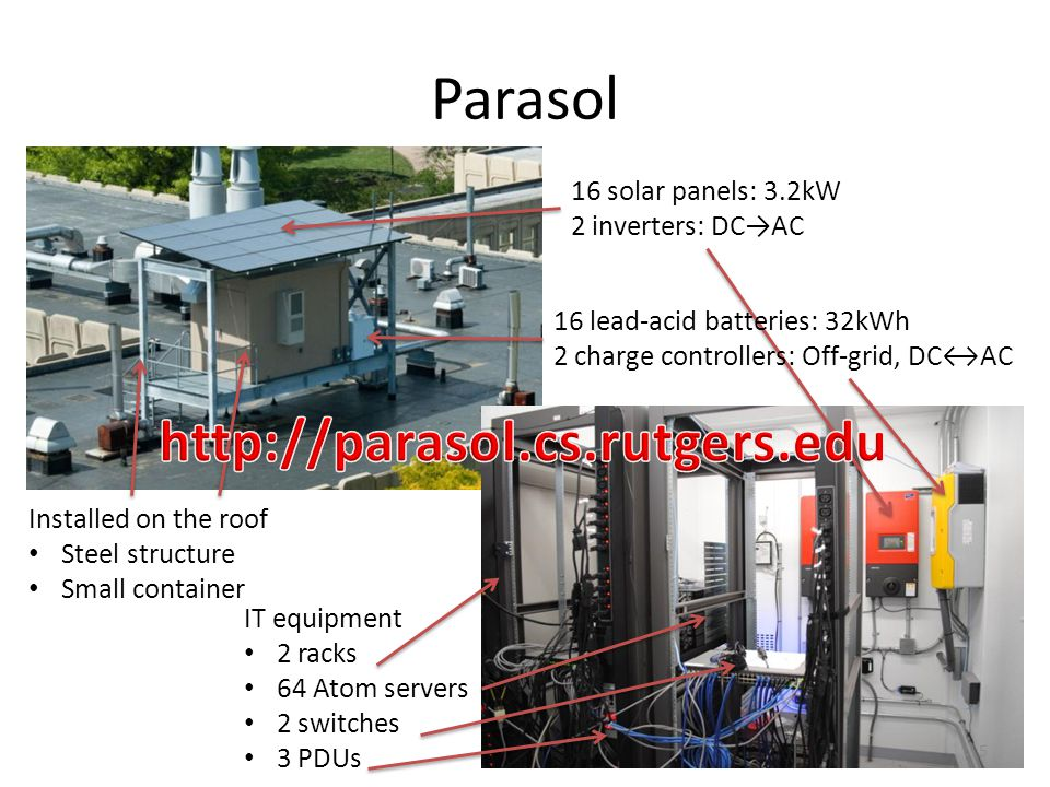 Parasol 16 solar panels: 3.2kW 2 inverters: DCAC Installed on the roof Steel structure Small container IT equipment 2 racks 64 Atom servers 2 switches 3 PDUs 16 lead-acid batteries: 32kWh 2 charge controllers: Off-grid, DCAC 5