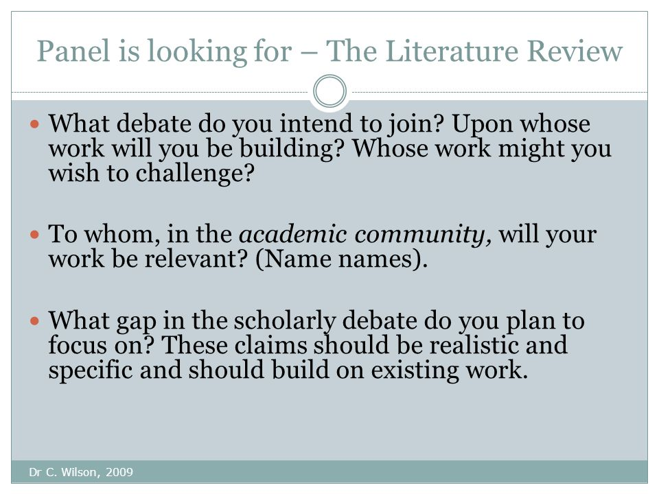 Panel is looking for – The Literature Review Dr C.
