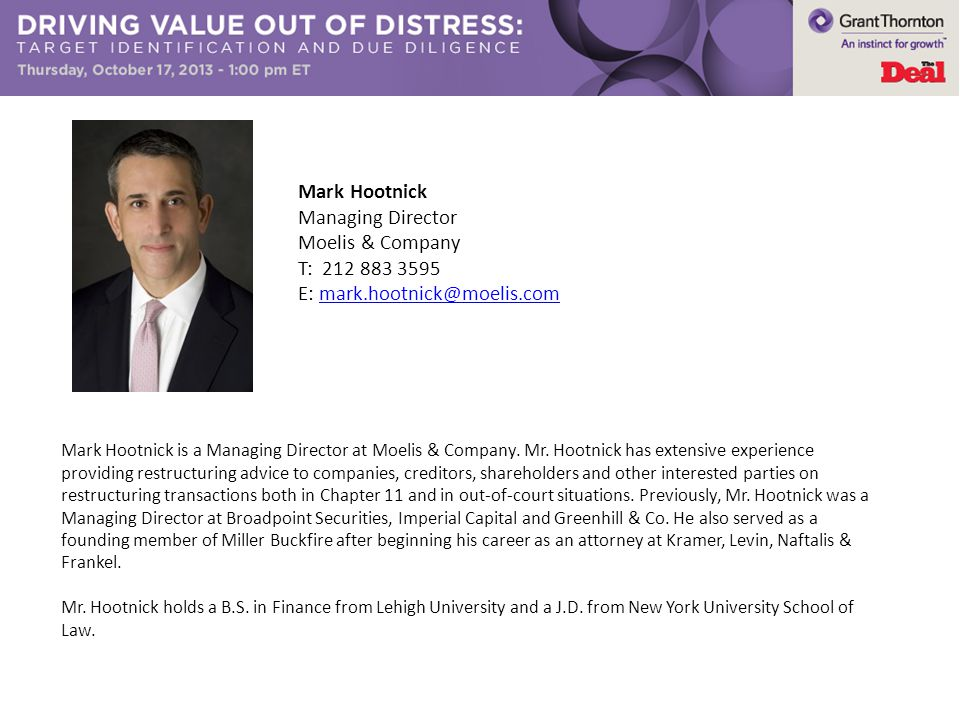 Mark Hootnick is a Managing Director at Moelis & Company.
