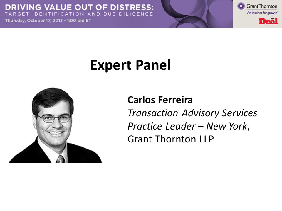 Expert Panel Carlos Ferreira Transaction Advisory Services Practice Leader – New York, Grant Thornton LLP