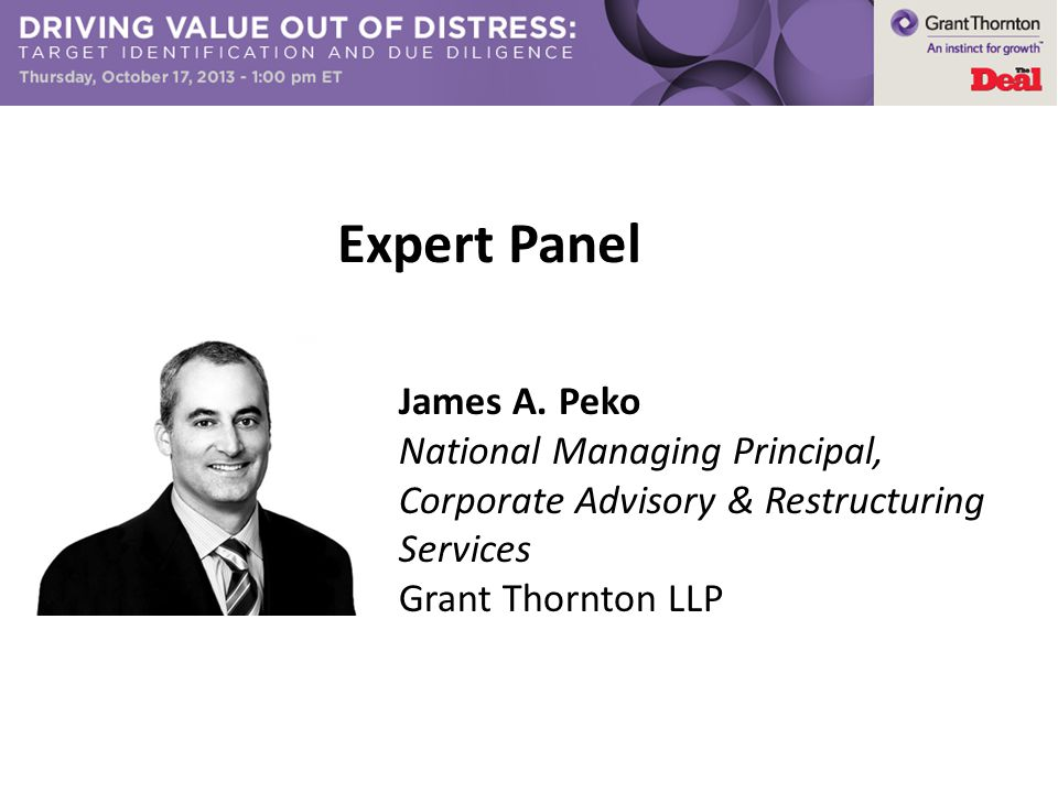 Expert Panel James A. Peko National Managing Principal, Corporate Advisory & Restructuring Services Grant Thornton LLP