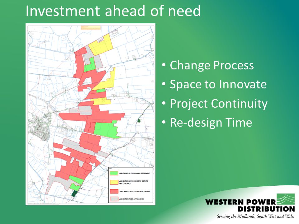 Investment ahead of need Change Process Space to Innovate Project Continuity Re-design Time
