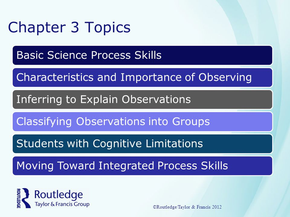 Chapter 3 Summary Use of Process Skills to InvestigateObserving: Collecting Facts Using SensesInferring: Proposing Cause for ObservationsClassifying: Putting Observations into OrderAdjusting Demands so All Children do ScienceIntegrated Process Skills for Older Students ©Routledge/Taylor & Francis 2012