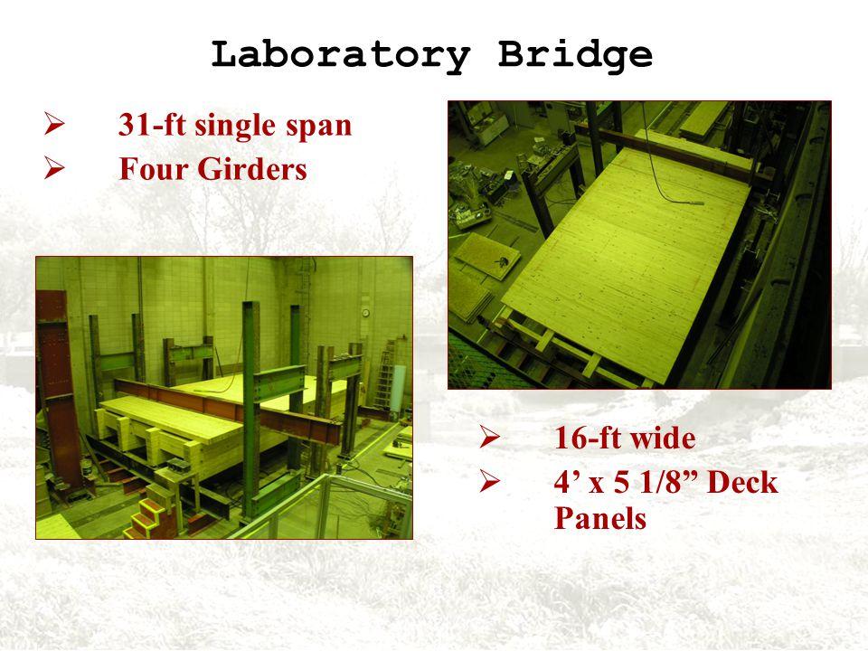 Laboratory Bridge 16-ft wide 4 x 5 1/8 Deck Panels 31-ft single span Four Girders