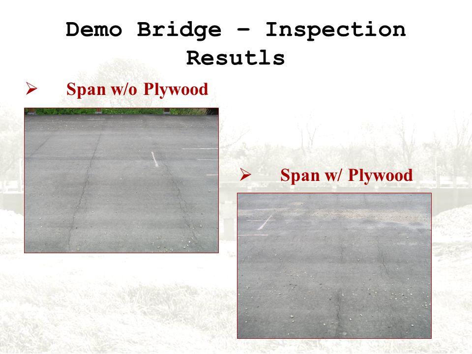 Demo Bridge – Inspection Resutls Span w/o Plywood Span w/ Plywood