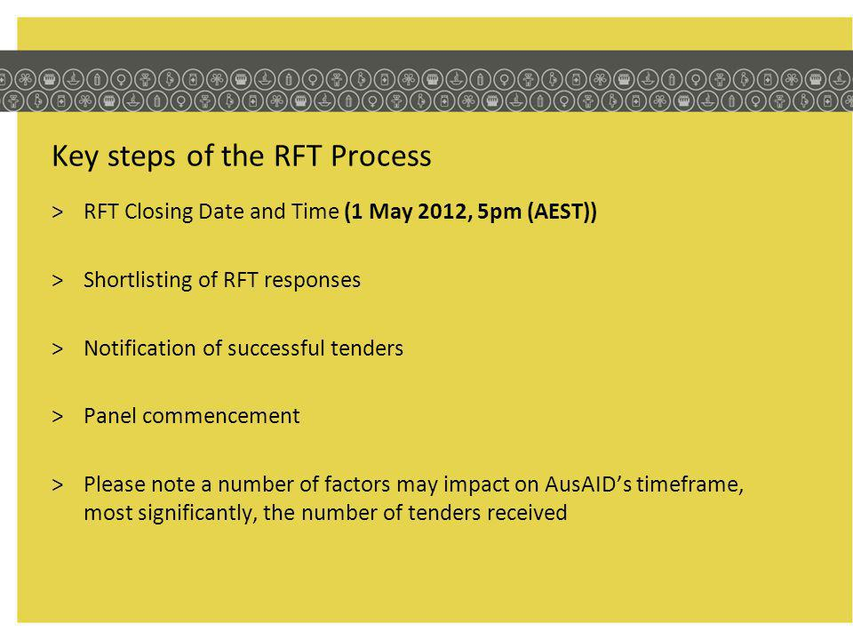 Key steps of the RFT Process >RFT Closing Date and Time (1 May 2012, 5pm (AEST)) >Shortlisting of RFT responses >Notification of successful tenders >Panel commencement >Please note a number of factors may impact on AusAIDs timeframe, most significantly, the number of tenders received