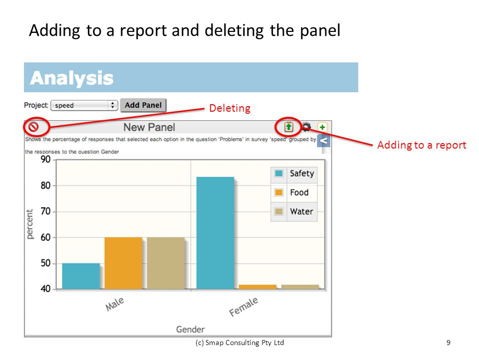 Adding to a report and deleting the panel (c) Smap Consulting Pty Ltd9 Adding to a report Deleting
