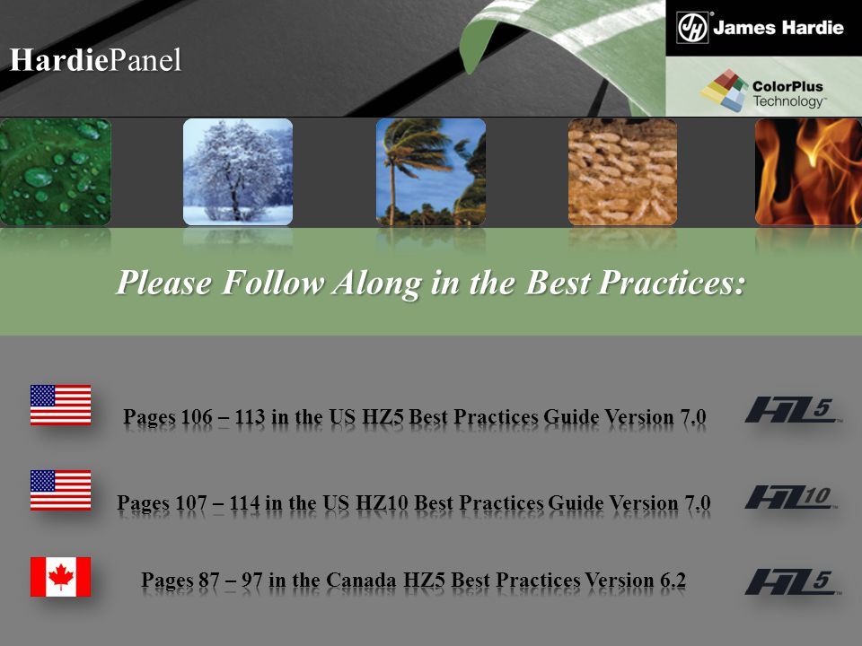 Text goes here Agenda HardiePanel Please Follow Along in the Best Practices: