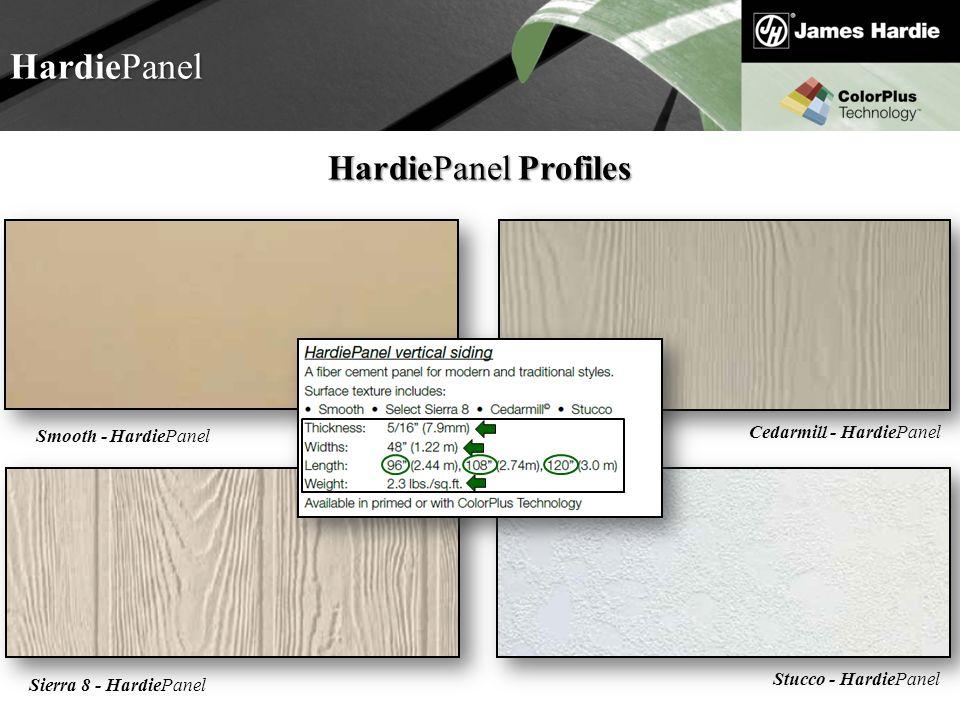Text goes here Agenda HardiePanel HardiePanel Profiles Stucco - HardiePanel Cedarmill - HardiePanel Sierra 8 - HardiePanelSmooth - HardiePanel