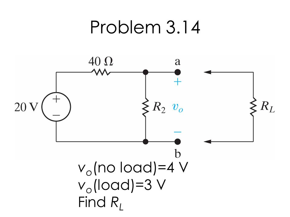 Problem 3.14 v o (no load)=4 V v o (load)=3 V Find R L
