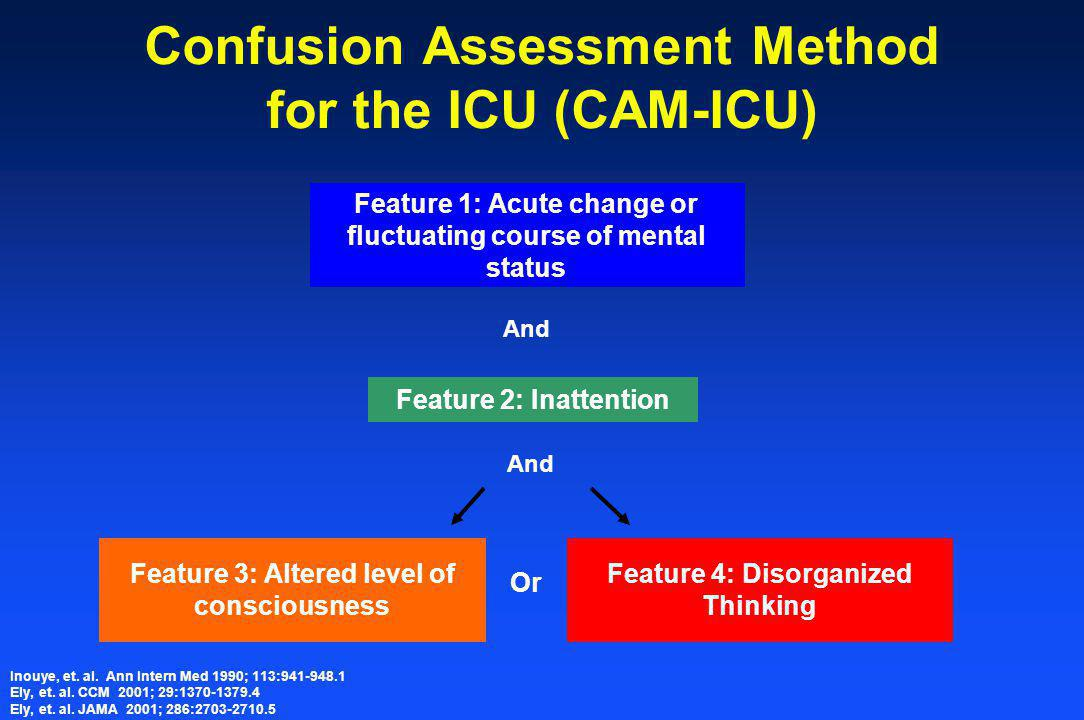 Confusion Assessment Method for the ICU (CAM-ICU) Feature 1: Acute change or fluctuating course of mental status And Feature 2: Inattention And Feature 3: Altered level of consciousness Feature 4: Disorganized Thinking Or Inouye, et.