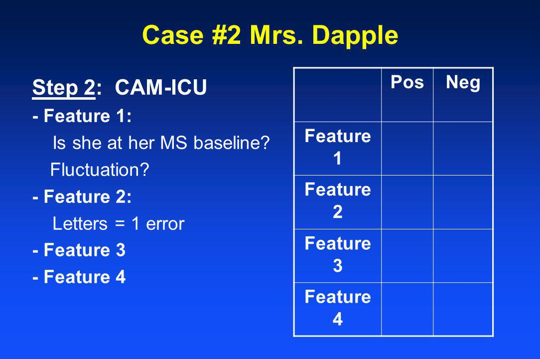 Step 2: CAM-ICU - Feature 1: Is she at her MS baseline? Fluctuation? - Feature 2: Letters = 1 error - Feature 3 - Feature 4 PosNeg Feature 1 Feature 2