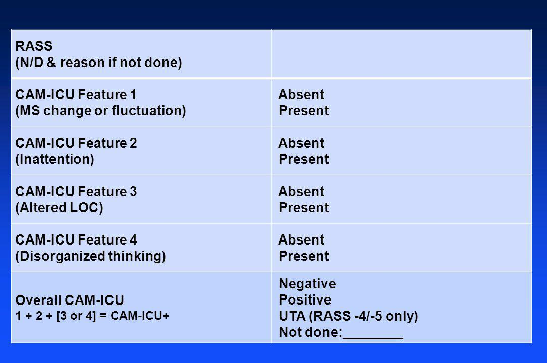 RASS (N/D & reason if not done) CAM-ICU Feature 1 (MS change or fluctuation) Absent Present CAM-ICU Feature 2 (Inattention) Absent Present CAM-ICU Fea