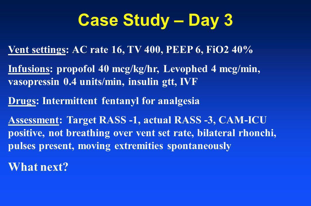 Case Study – Day 3 Vent settings: AC rate 16, TV 400, PEEP 6, FiO2 40% Infusions: propofol 40 mcg/kg/hr, Levophed 4 mcg/min, vasopressin 0.4 units/min