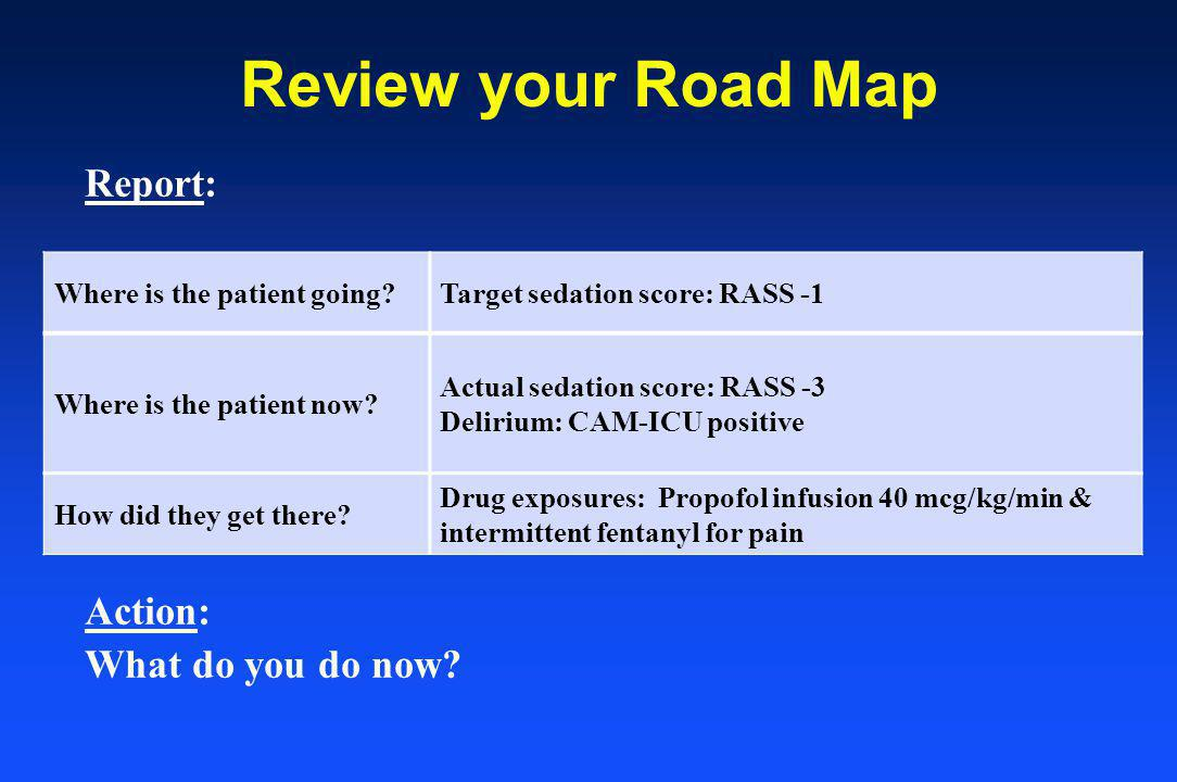 Review your Road Map Report: Action: What do you do now.