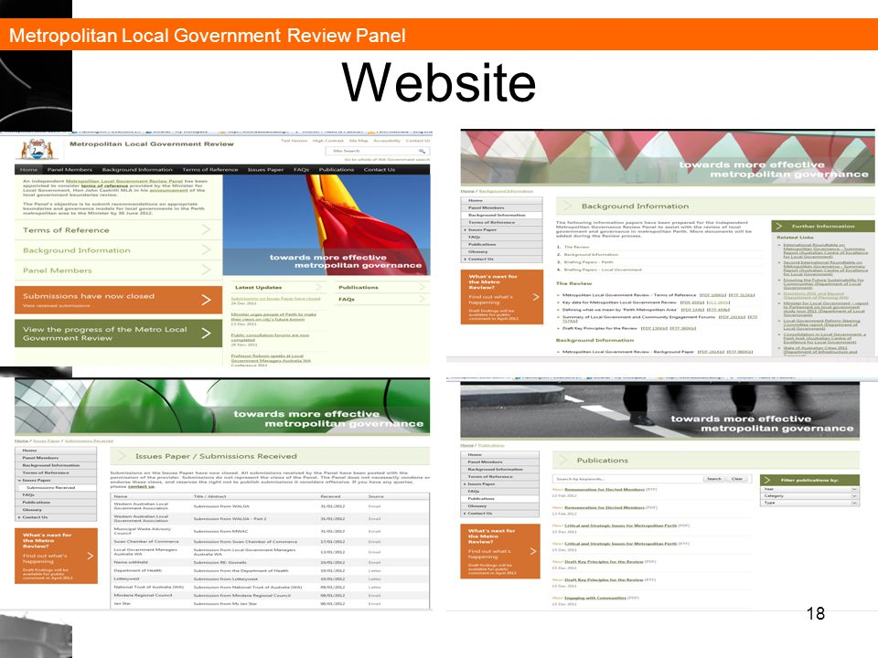 Metropolitan Local Government Review Panel Website 18