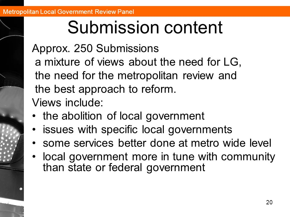 Metropolitan Local Government Review Panel Submission content Approx.