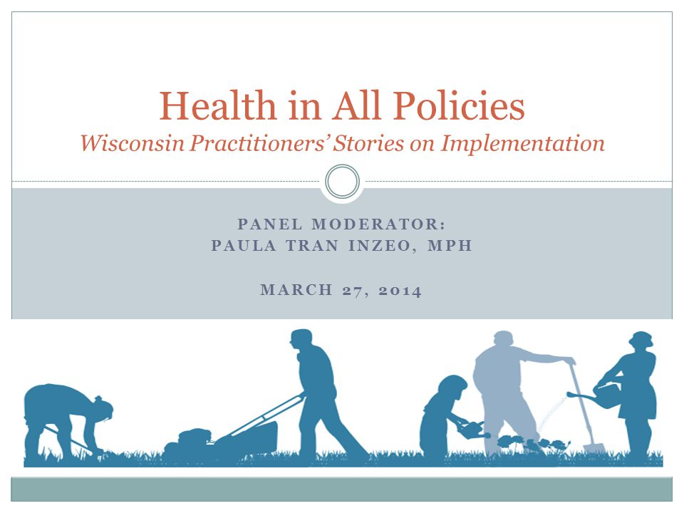 PANEL MODERATOR: PAULA TRAN INZEO, MPH MARCH 27, 2014 Health in All Policies Wisconsin Practitioners Stories on Implementation