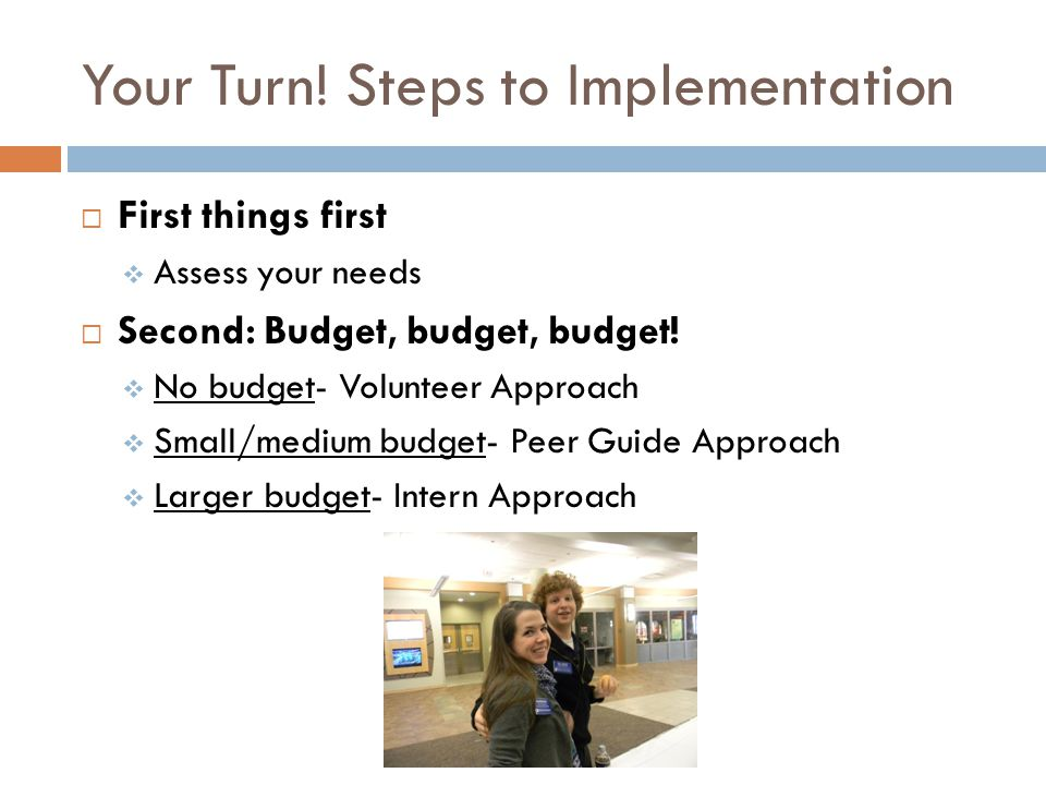 Your Turn! Steps to Implementation First things first Assess your needs Second: Budget, budget, budget! No budget- Volunteer Approach Small/medium bud