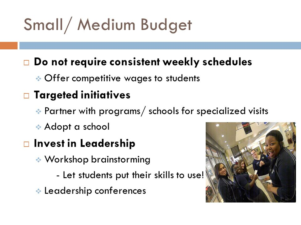 Small/ Medium Budget Do not require consistent weekly schedules Offer competitive wages to students Targeted initiatives Partner with programs/ schools for specialized visits Adopt a school Invest in Leadership Workshop brainstorming - Let students put their skills to use.
