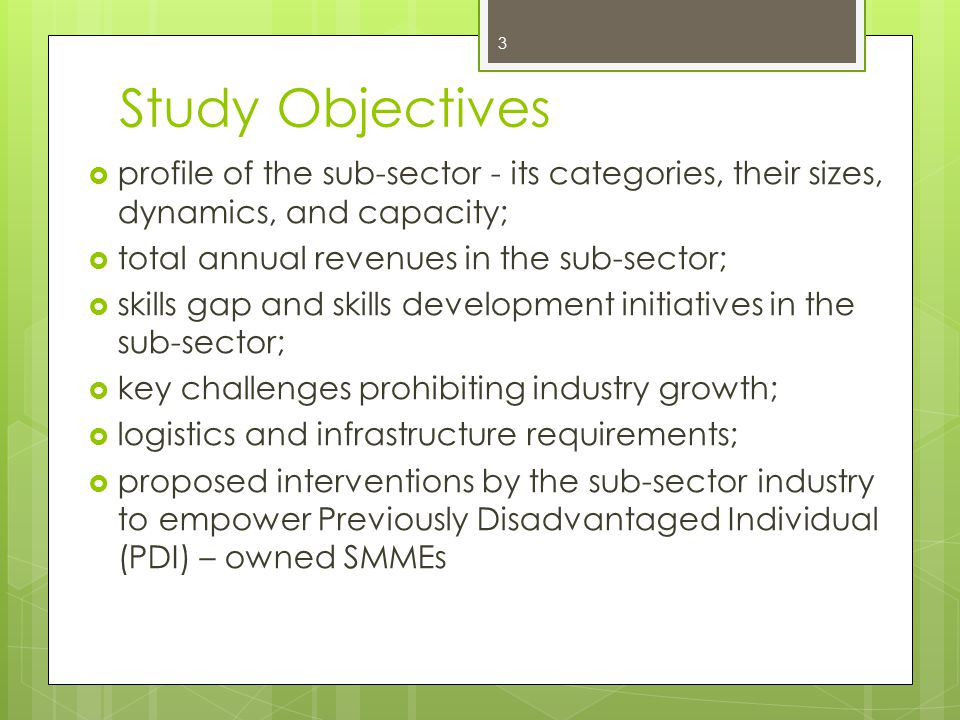 Study Objectives profile of the sub-sector - its categories, their sizes, dynamics, and capacity; total annual revenues in the sub-sector; skills gap and skills development initiatives in the sub-sector; key challenges prohibiting industry growth; logistics and infrastructure requirements; proposed interventions by the sub-sector industry to empower Previously Disadvantaged Individual (PDI) – owned SMMEs 3
