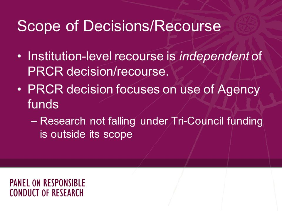 Institution-level recourse is independent of PRCR decision/recourse.