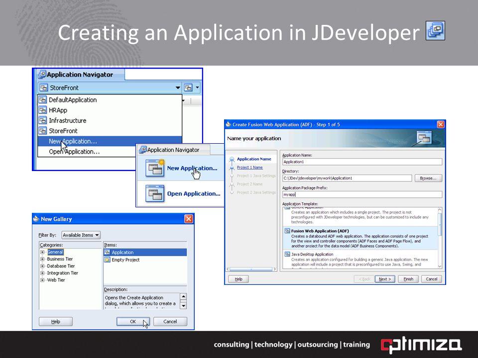 Creating an Application in JDeveloper