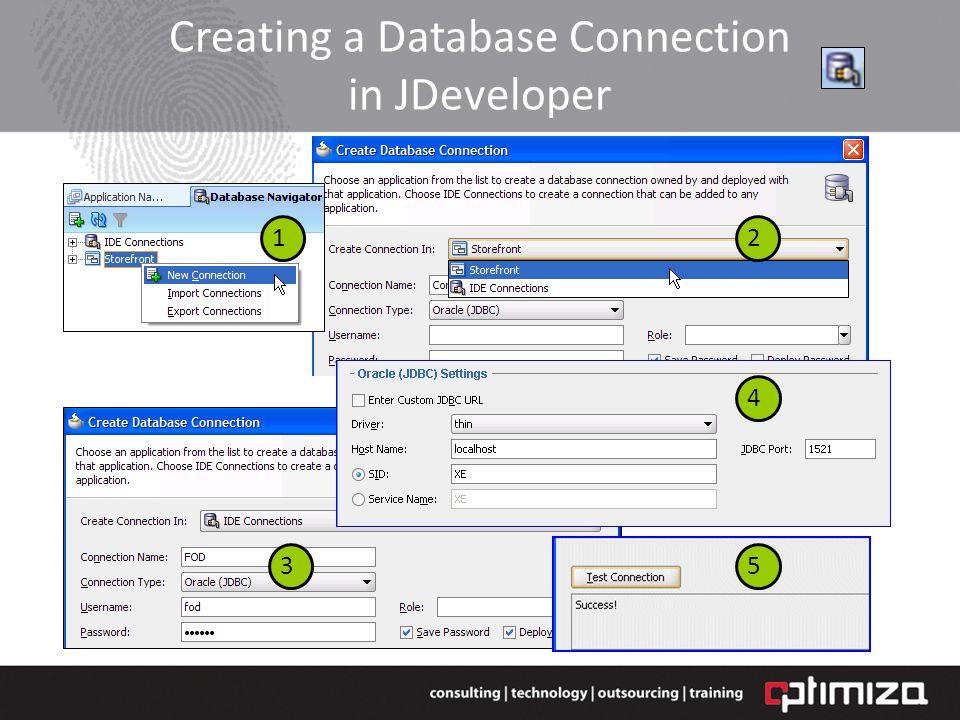 Creating a Database Connection in JDeveloper 12 3 4 4 5