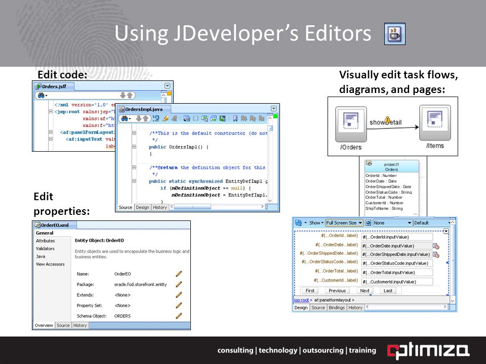 Using JDevelopers Editors Edit properties: Visually edit task flows, diagrams, and pages: Edit code: