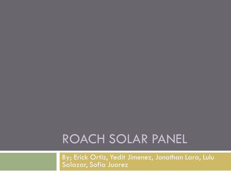 ROACH SOLAR PANEL By; Erick Ortiz, Yedit Jimenez, Jonathan Lara, Lulu Salazar, Sofia Juarez