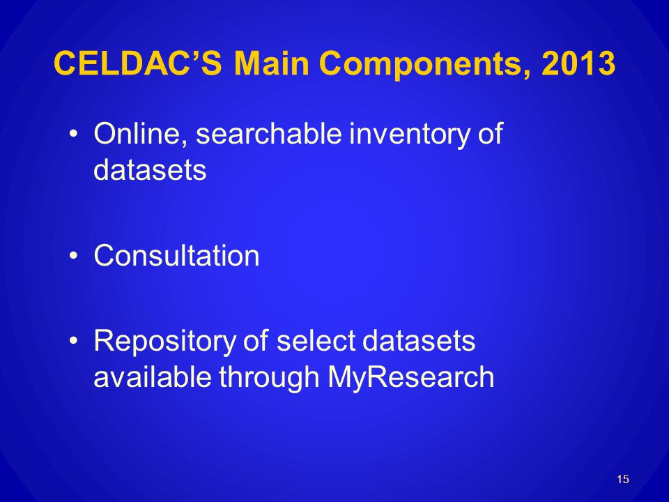 CELDACS Main Components, 2013 Online, searchable inventory of datasets Consultation Repository of select datasets available through MyResearch 15
