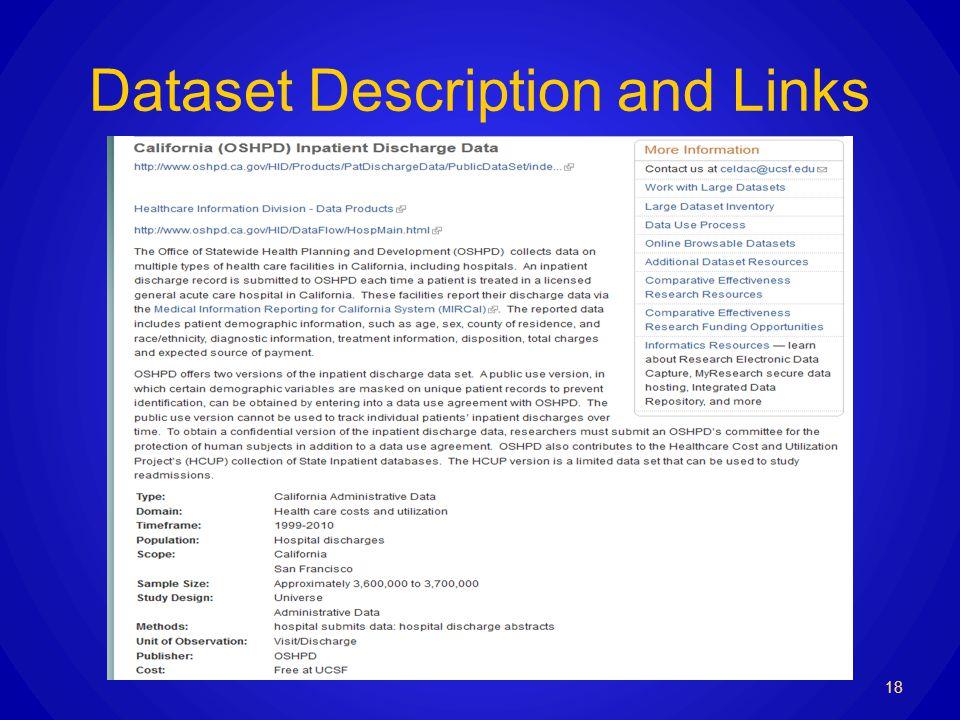 Dataset Description and Links 18