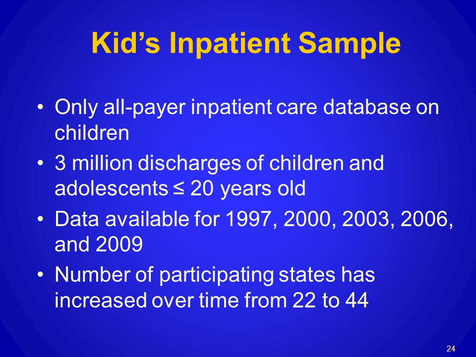 Kids Inpatient Sample Only all-payer inpatient care database on children 3 million discharges of children and adolescents 20 years old Data available for 1997, 2000, 2003, 2006, and 2009 Number of participating states has increased over time from 22 to 44 24