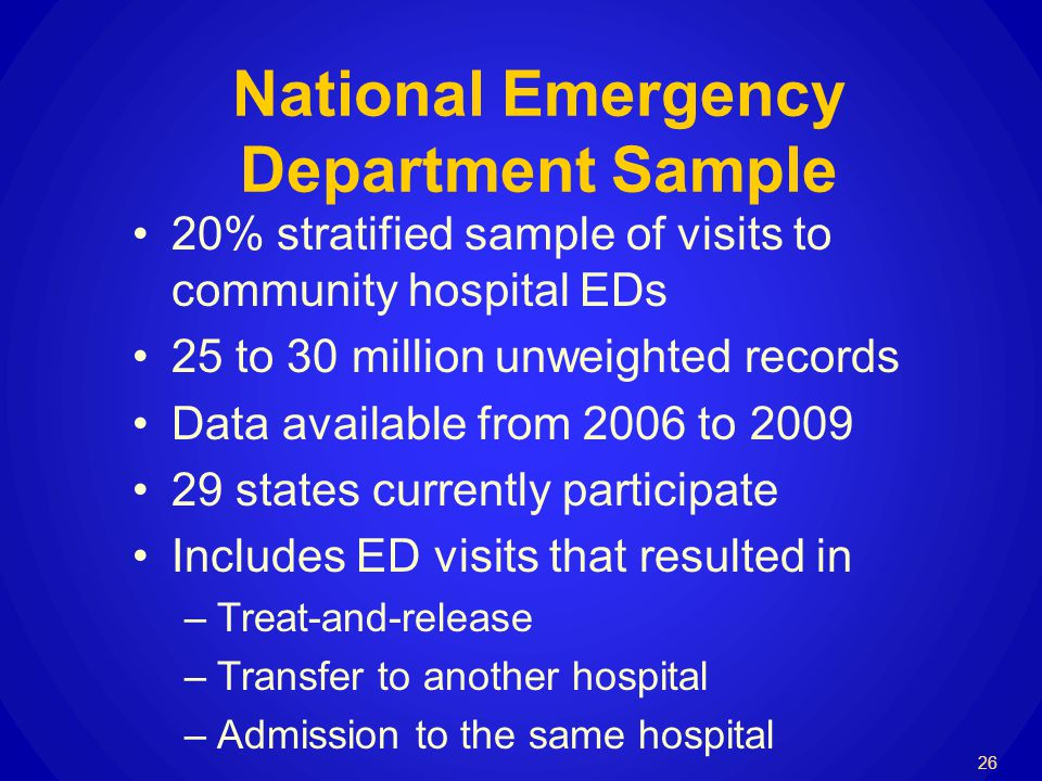 National Emergency Department Sample 20% stratified sample of visits to community hospital EDs 25 to 30 million unweighted records Data available from 2006 to 2009 29 states currently participate Includes ED visits that resulted in –Treat-and-release –Transfer to another hospital –Admission to the same hospital 26