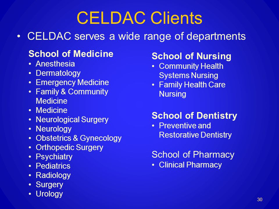 CELDAC Clients CELDAC serves a wide range of departments 30 School of Medicine Anesthesia Dermatology Emergency Medicine Family & Community Medicine Medicine Neurological Surgery Neurology Obstetrics & Gynecology Orthopedic Surgery Psychiatry Pediatrics Radiology Surgery Urology School of Nursing Community Health Systems Nursing Family Health Care Nursing School of Dentistry Preventive and Restorative Dentistry School of Pharmacy Clinical Pharmacy