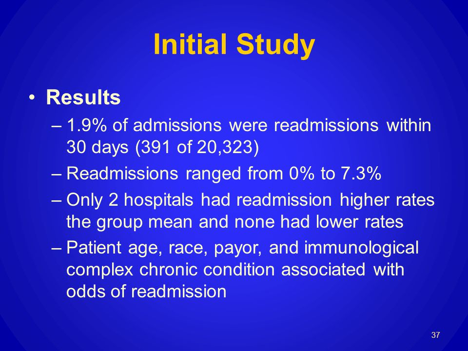 Initial Study Results –1.9% of admissions were readmissions within 30 days (391 of 20,323) –Readmissions ranged from 0% to 7.3% –Only 2 hospitals had readmission higher rates the group mean and none had lower rates –Patient age, race, payor, and immunological complex chronic condition associated with odds of readmission 37