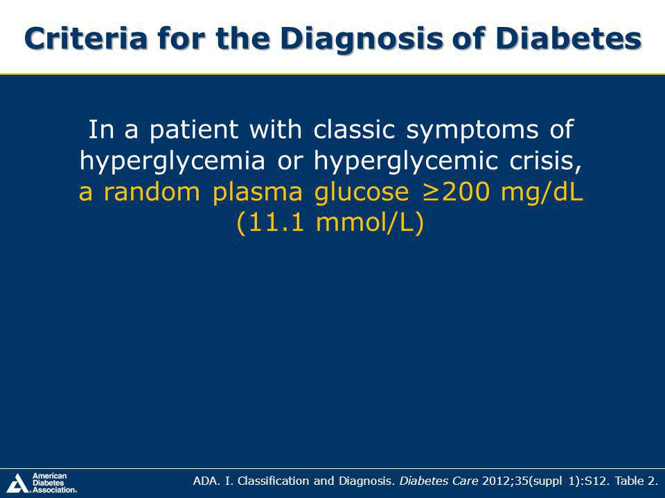 Criteria for the Diagnosis of Diabetes In a patient with classic symptoms of hyperglycemia or hyperglycemic crisis, a random plasma glucose 200 mg/dL (11.1 mmol/L) ADA.