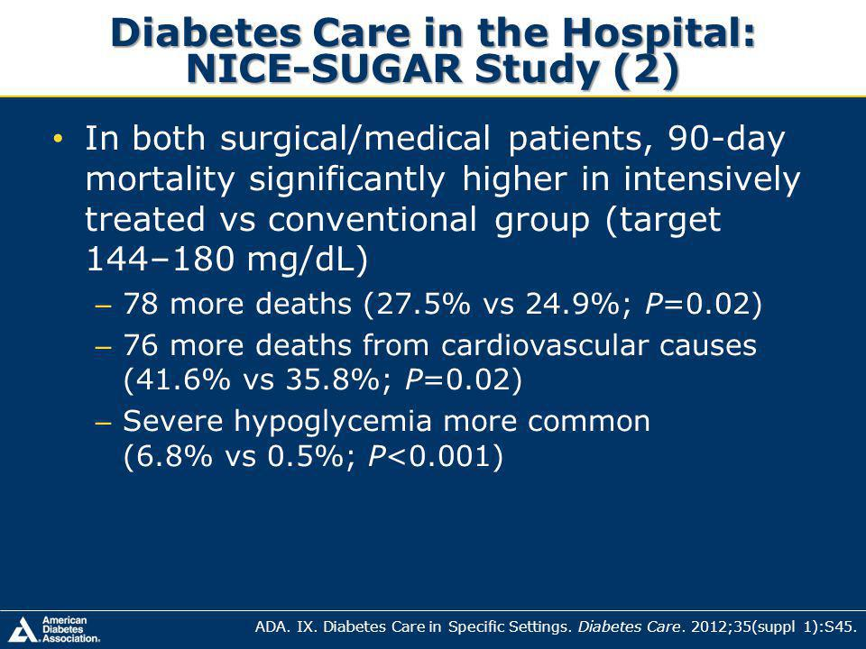 Diabetes Care in the Hospital: NICE-SUGAR Study (2) In both surgical/medical patients, 90-day mortality significantly higher in intensively treated vs conventional group (target 144–180 mg/dL) – 78 more deaths (27.5% vs 24.9%; P=0.02) – 76 more deaths from cardiovascular causes (41.6% vs 35.8%; P=0.02) – Severe hypoglycemia more common (6.8% vs 0.5%; P<0.001) ADA.