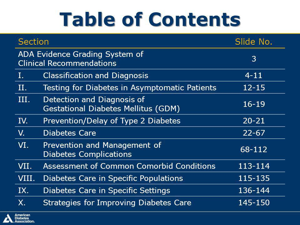 Table of Contents Section Slide No.
