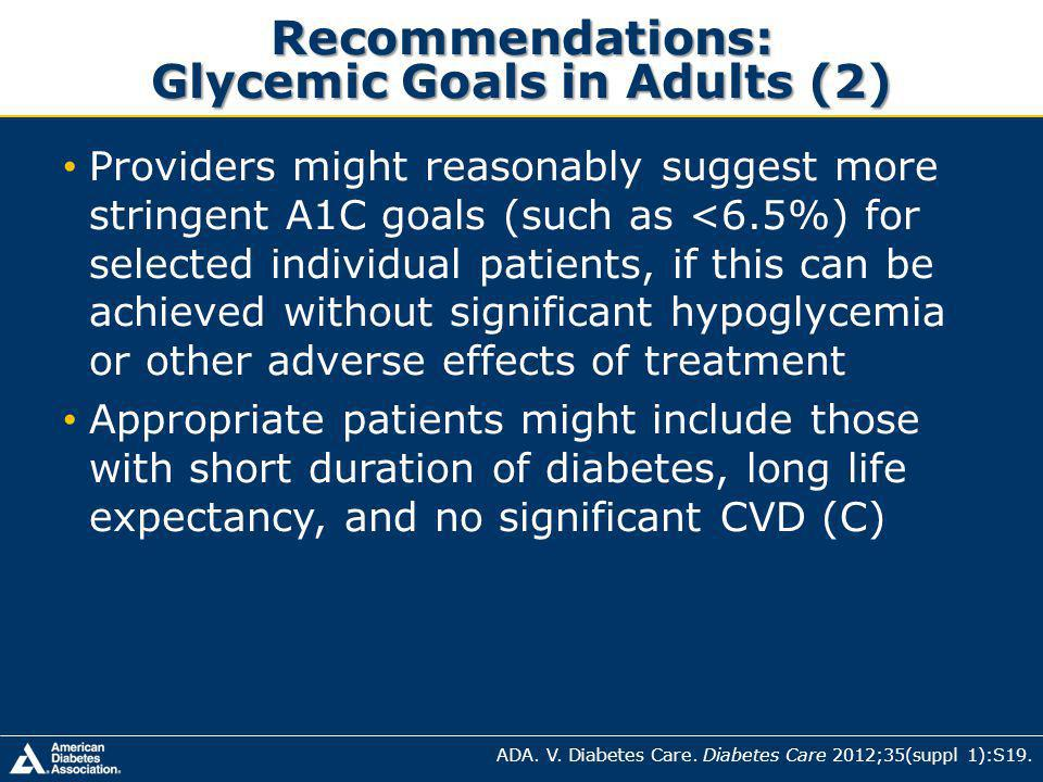 Providers might reasonably suggest more stringent A1C goals (such as <6.5%) for selected individual patients, if this can be achieved without significant hypoglycemia or other adverse effects of treatment Appropriate patients might include those with short duration of diabetes, long life expectancy, and no significant CVD (C) Recommendations: Glycemic Goals in Adults (2) ADA.