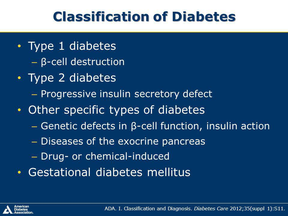 Classification of Diabetes Type 1 diabetes – β-cell destruction Type 2 diabetes – Progressive insulin secretory defect Other specific types of diabetes – Genetic defects in β-cell function, insulin action – Diseases of the exocrine pancreas – Drug- or chemical-induced Gestational diabetes mellitus ADA.
