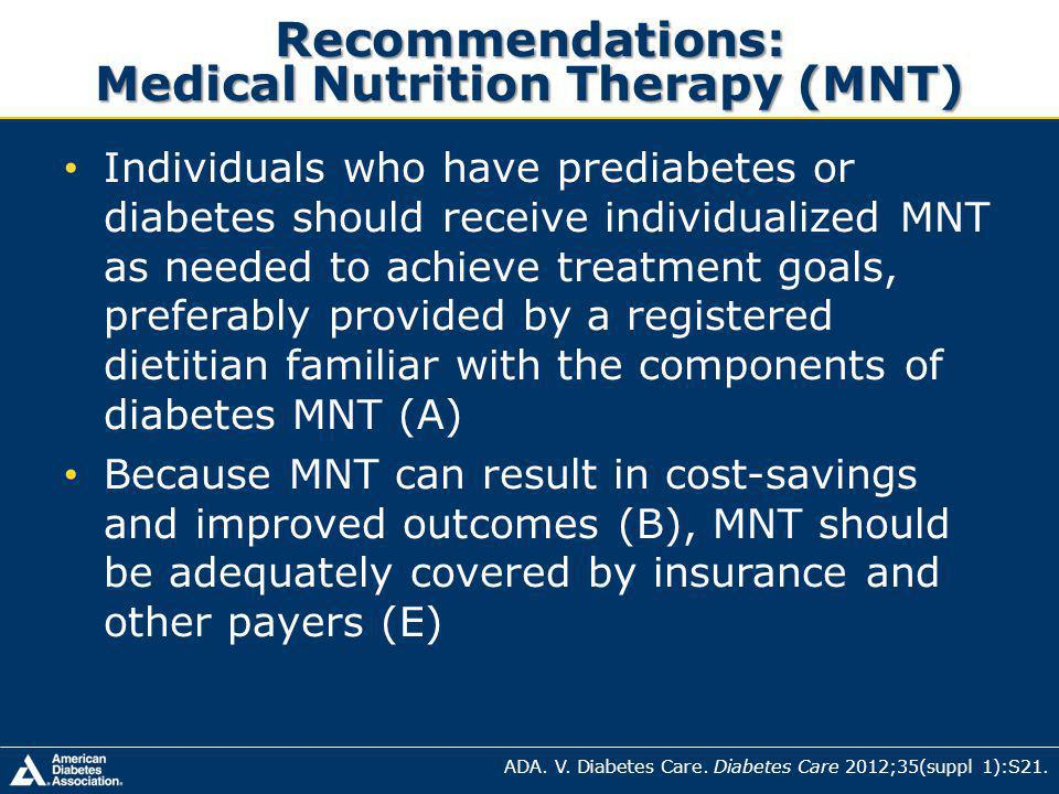 Recommendations: Medical Nutrition Therapy (MNT) ADA.