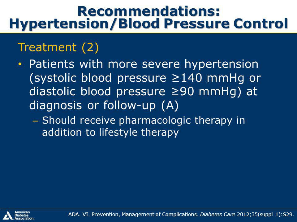 Recommendations: Hypertension/Blood Pressure Control Treatment (2) Patients with more severe hypertension (systolic blood pressure 140 mmHg or diastolic blood pressure 90 mmHg) at diagnosis or follow-up (A) – Should receive pharmacologic therapy in addition to lifestyle therapy ADA.