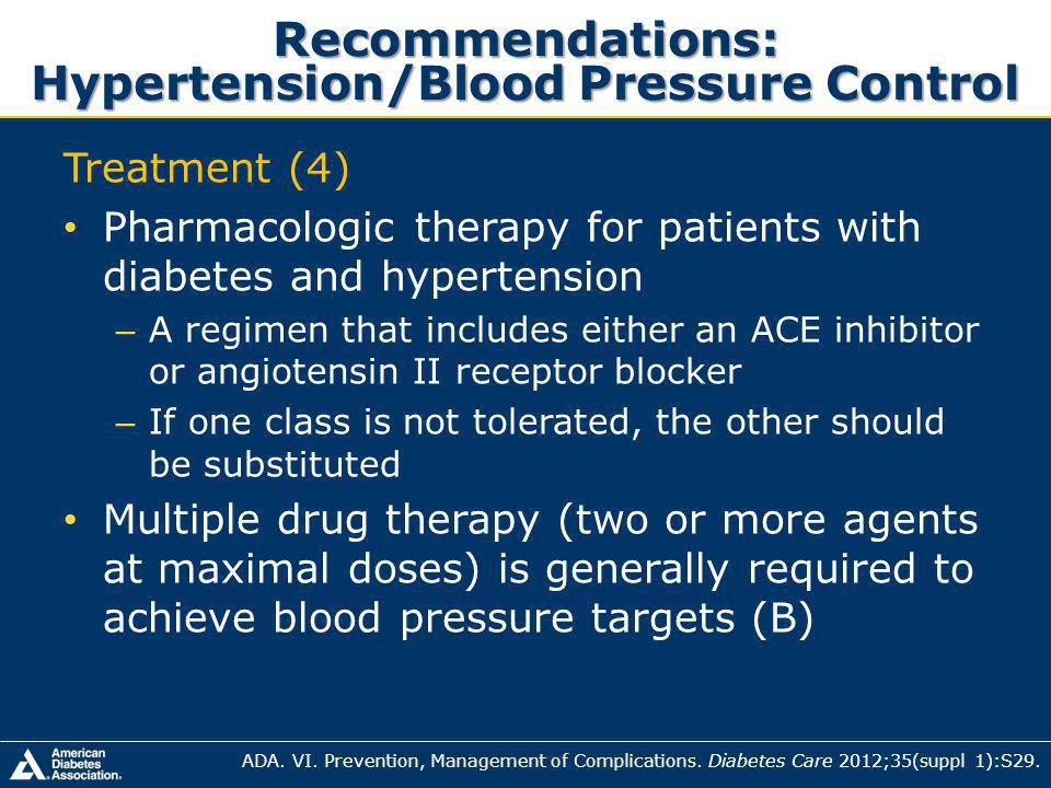 Recommendations: Hypertension/Blood Pressure Control Treatment (4) Pharmacologic therapy for patients with diabetes and hypertension – A regimen that includes either an ACE inhibitor or angiotensin II receptor blocker – If one class is not tolerated, the other should be substituted Multiple drug therapy (two or more agents at maximal doses) is generally required to achieve blood pressure targets (B) ADA.