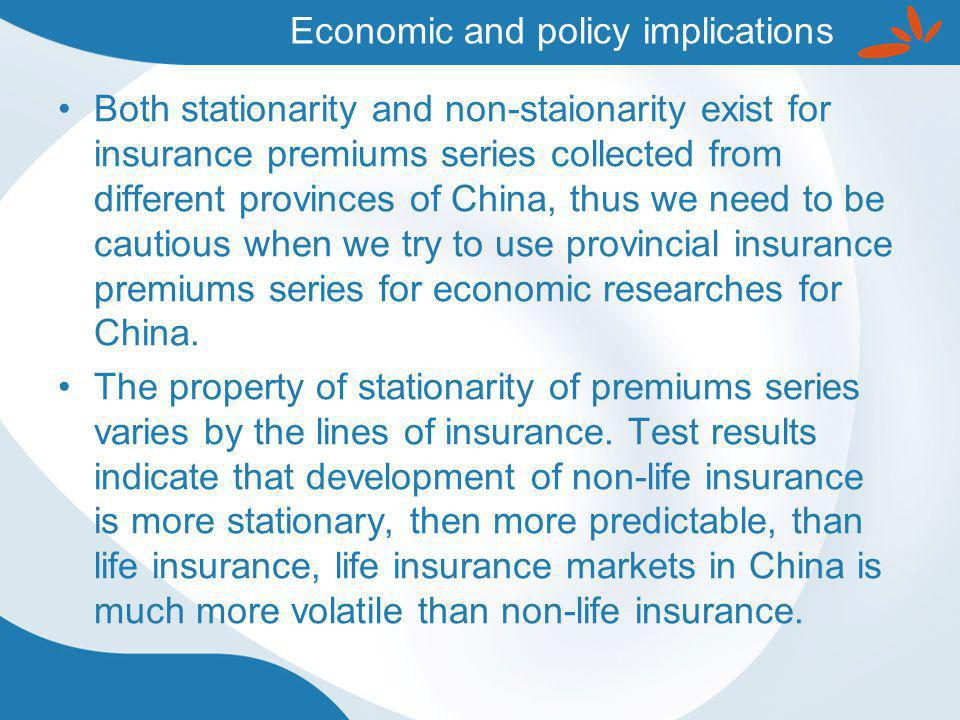 Both stationarity and non-staionarity exist for insurance premiums series collected from different provinces of China, thus we need to be cautious when we try to use provincial insurance premiums series for economic researches for China.