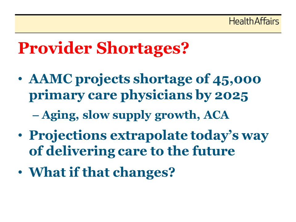 Provider Shortages? AAMC projects shortage of 45,000 primary care physicians by 2025 – Aging, slow supply growth, ACA Projections extrapolate todays w