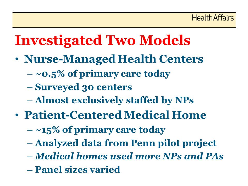 Investigated Two Models Nurse-Managed Health Centers – ~0.5% of primary care today – Surveyed 30 centers – Almost exclusively staffed by NPs Patient-Centered Medical Home – ~15% of primary care today – Analyzed data from Penn pilot project – Medical homes used more NPs and PAs – Panel sizes varied